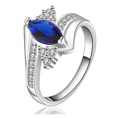 Korean Simplicity 925 Silver Royalblue Diamond All-match Rings (£4.73) ❤ liked on Polyvore featuring jewelry, rings, silver diamond rings, silver jewelry, diamond rings, silver jewellery and silver rings