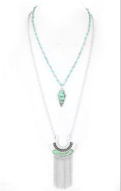 Silver Fringe and Turquoise Arrowhead pendant