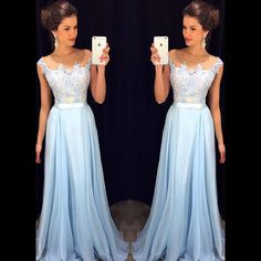 Light Blue Illusion Chiffon Prom Dress With Floral Appliques, Long Prom Dress, Cheap Prom Dress, Lace and Chiffon Prom Dress, Charming Eveni by prom dresses, $146.00 USD
