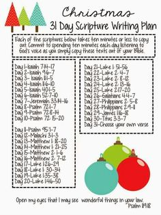 31 Day Christmas Scripture Writing Plan