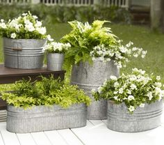 Galvanized Metal Tubs as Planters Drill several holes in the bottom and put in a layer of gravel before adding your soil and plants. Description from pinterest.com. I searched for this on bing.com/images