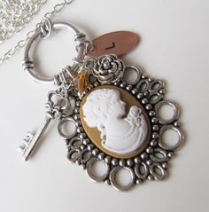 Cameo necklace with a hand stamped solid copper initial, by romanticcrafts, $18.00