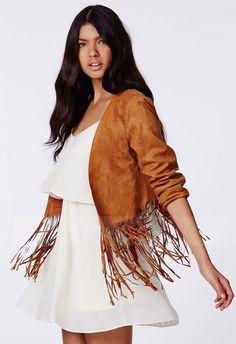 2014 Fashion Women Lady Faux Suede Leather Fringe Jackets Coat Long Sleeve Cardigan casacos femininos Casual Slim Tops Plus Size