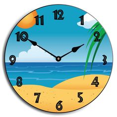 Beach Clock. Colorful and cute. Great for a kid's room! Comes in five sizes and ships free of charge! Available for customization as well. http://thebigclockstore.com/category/blog/