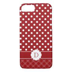 Girly Red White Polka Dots Monogram iPhone 8/7 Case