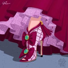 Stepmother Lady Tremaine in @chanelofficial inspired design #griz #grizandnorm #fanart #fashionart #fashionillustration #shoedesign #shoelust #shoeenvy #disney #day24 #ladytremaine #cinderella #stepmother #chanel