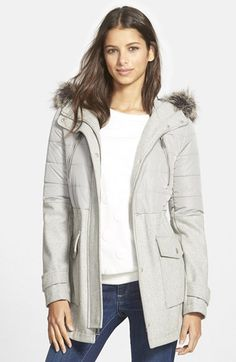 BCBGeneration Faux Fur Trim Hooded Mixed Media Coat (Online Only) available at #Nordstrom