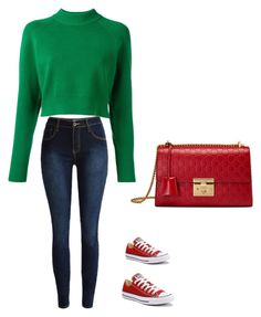 """""""Split complementary. Navy blue skinny jeans with a green long sleeve crop top.and matching red converse and a quilted bag. For Day at the mall"""" by jennifer2375 on Polyvore featuring DKNY, Converse and Gucci"""