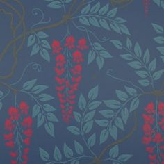 Egerton Archive Anthology Wallpaper The ever popular Egerton wallpaper has been reintroduced to include brand new colourings with red flowers on an midnight blue background.