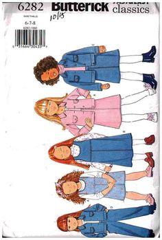 Butterick Sewing Pattern 6282 Girls Jumper, Jumpsuit, Top Size: 6-7-8 or 7-8-10 Uncut