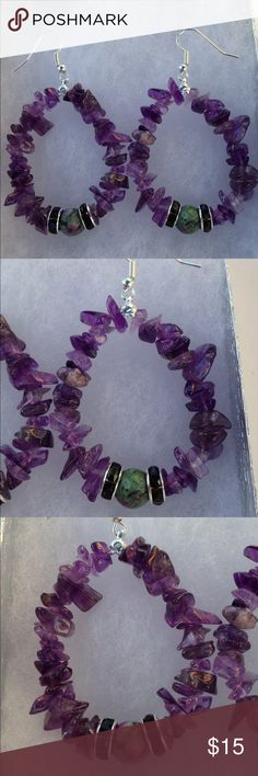 Amethyst and Ruby Zoisite Hoop Earrings These beautiful earrings are handmade with natural amethyst and ruby zoisite. The hooks are sterling silver plated.   All PeaceFrog jewelry items are handmade by me! Take a look through my boutique for more unique creations. PeaceFrog Jewelry Earrings