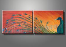 Orange Peacock Queen Birds Animals Oil Painting Modern Wall Pictures Home Decor