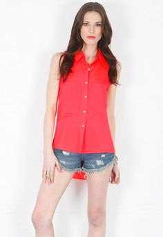 Sleeveless Bardot Blouse in Neon Salmon - designed by Naven