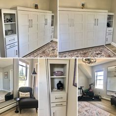 Our customer from Mystic, Connecticut chose the Bedder Way Horizontal Queen Lake View Murphy bed in maple painted white with nickel modern pulls along with two side cabinets. Mystic Connecticut, Murphy Bed, Lake View, Entryway, Kitchen Cabinets, Queen, Gallery, Modern, Furniture