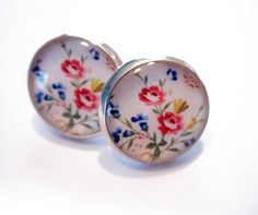 Wild Flowers Resin Post Silver Earrings by MyBlossomCouture