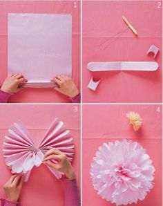 Baby shower diy flowers pom poms ideas for 2019 Carnival Party Decorations, Carnival Crafts, Pink Decorations, Tissue Paper Pom Poms Diy, Diy Paper, Paper Poms, Mardi Gras, Diy Pompon, Wedding Gift Wrapping