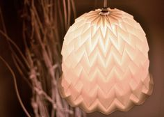 White Textured Origami Paper Lamp Shade Lantern Bell by tyART on Etsy Origami Lights, Origami Lamp, Origami Paper, Diy Origami, House Lamp, Paper Lampshade, Origami Wedding, Diy Christmas Presents, Art Projects For Adults