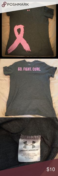 """Dark Grey Breast Cancer Awareness Under Armor Tee Dark grey Under Armor Tshirt with pink breast cancer ribbon on the front and """"Go. Fight. Cure."""" written on the back. Lightly worn and still in great condition. Size medium, but fits small! Under Armour Tops Tees - Short Sleeve"""
