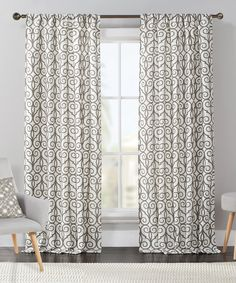 Look at this #zulilyfind! Gray Clinton Flocked Curtain Panel - Set of Two by Victoria Classics #zulilyfinds
