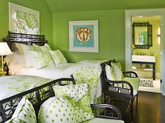 Nantucket pool house designed by Wendy Valliere of Seldom Scene Interiors. Love the beds and the use of green.