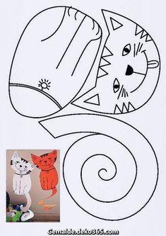 easy pop up frog art for kids hub - PIPicStats Cat Crafts, Animal Crafts, Art For Kids, Crafts For Kids, Arts And Crafts, Printable Crafts, Cat Pattern, Preschool Crafts, Preschool Activities
