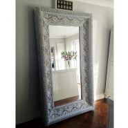 American Made Rayne Feathered Mahogany Floor Mirror traditional ...