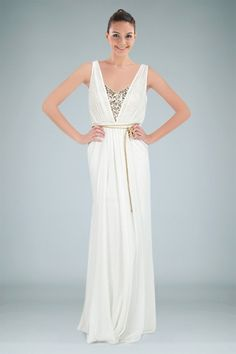 Grecian A-line Evening Gown in White Chiffon with Sequined Lining