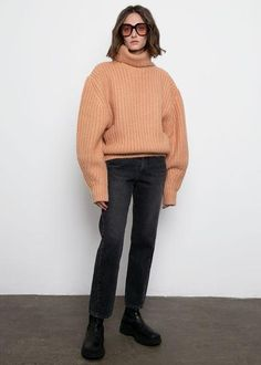 "Relaxed Sweater High Turtleneck Drop Shoulder Balloon Sleeve Tapered Hem Contrast Rib Trim 80% Wool, 20% Nylon 25"" Length, 50"" Bust  16"" Bottom Hem (measured flat) Dry Clean Imported Ribbed Turtleneck, Balloon, Contrast, Normcore, Turtle Neck, Notes, Drop, Style Inspiration, Flat"