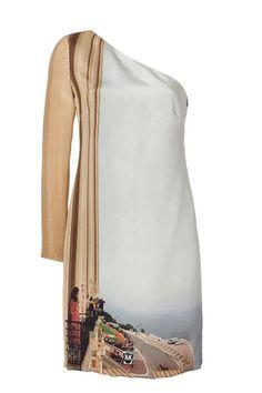 Akris Monte Carlo Print Silk Dress in Blue   Lyst