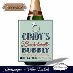 Custom Champagne Labels for Bachelorette Parties, Wine Wedding favor, Anniversary labels - Set of 4 Digital File by Mis2Manos, $6.00 USD