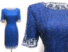 Navy Blue Sequin Dress on Etsy, $75.00