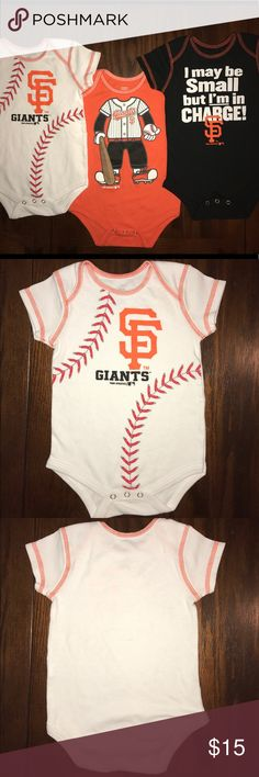 Baby Boy's Lot of 3 12 Months SF Giants Onesies This listing consists of 3 onesies all in size 12 months. The 1st is black with orange stitching and white writing. The 2nd onesie is all white with orange stitching and the the screen print of baseball stithing and the SF Giants logo. The last onesie is orange with white stitching and the body of a Giants baseball team player. All of these onesies are in great gently used condition and will be a perfect addition to your little one's wardrobe…