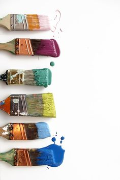 Ted's colour inspiration: a rainbow of paint brushes.