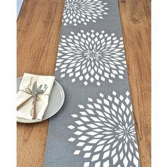 Graphic Zinnia Modern Linen Table Runner - Grey / White
