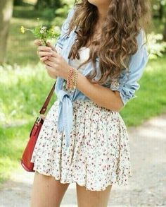 Spring. Outfit. Skirt. Flowers. Brown bag. Blue flannel. White top. Cute. Teen girl. Trendy