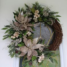Winter Holiday/Christmas Poinsettia Wreath Grapevine Floral