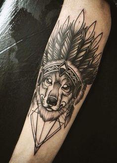 Wolf Native American Tattoo