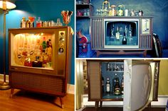 Vintage TV Converted Into A Bar