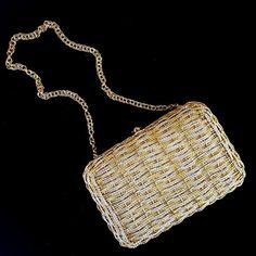 Rare Vintage Gold and Silver Koret Handbag, 1960s Vintage handbag, Evening bag, Minaudier by BeyondtheBeatenPath on Etsy