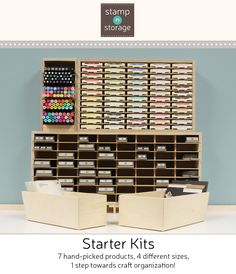 Wouldn't you love to have an efficiently organized craft area? Our new Starter Kits are what you need. With 7 hand-picked products and 4 sizes to choose from, you'll take 1 big step towards craft organization! Watch our Starter Kit video to learn more!