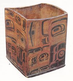 "A bentwood box by ""the Master of the Black Field"", collected at Chilkat, Alaska, circa 1880 by Lt. George Edmunds. This is one the undisputed masterpieces of Northwest Coast Indian art."