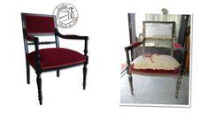 Fauteuil de style directoire avec un tissu rouge de chez Romo, galon double cordes bicolores, structure noire et vernis. Atelier Secrets de Siège.
