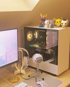 Gaming Room Setup, Pc Setup, Desk Setup, Aot Wallpaper, Fairy Room, Big Desk, Gamer Room, Aesthetic Bedroom, Desk Organization
