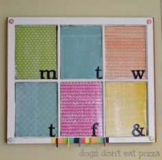 memo board with scrapbook paper - five uses for old windows - Dogs Don't Eat Pizza