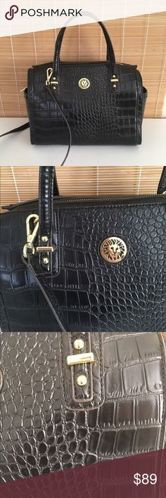 NWOT Anne Klein alma dome bag New without tags Anne Klein dome alma style bag with gold hardware and black python finish. Small handles and cross body option included. Excellent condition, never carried. KRG77 Anne Klein Bags Satchels