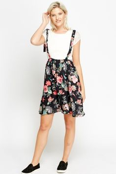 Floral Skirt Dungaree Dress - BLACK/MULTI - £5 - on Everything5pounds.com