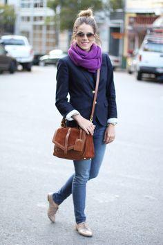 1.12 casual blazer (J Crew blazer + StyleMint t-shirt + F21 scarf + JBrand jeans + Zara oxfords + Tory Burch purse + Ray Bans + Michael Kors watch)
