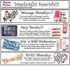 Weeknight #Passion #Parties by Erica #Specials!
