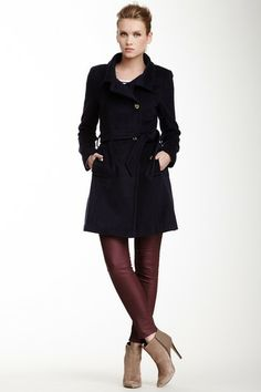 Izzy Funnel Collar Belted Wool Blend Coat by Tahari on @HauteLook