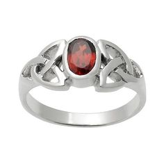 / CT. T.. Oval-cut Garnet Celtic Knot Bezel Set Ring in Sterling... ($40) ❤ liked on Polyvore featuring jewelry, rings, red, sterling silver rings, red ring, sterling silver celtic jewelry, sterling silver garnet ring and sterling silver jewelry